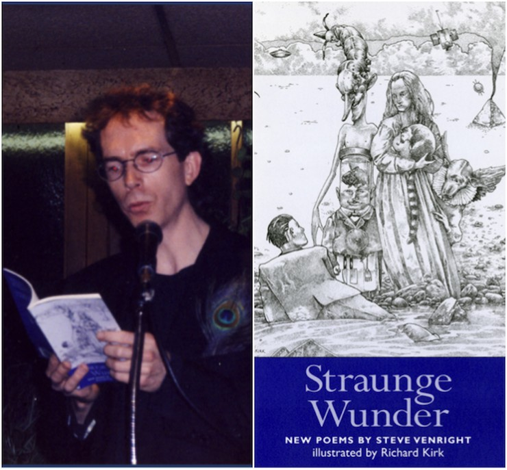 Steve Venright (R) reading from Straunge Wunder; or, the Metalirious Pleasures of Neural Alchemy (Tortoiseshell & Black, 1996).